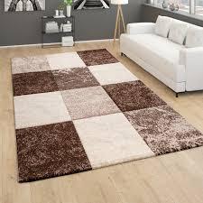 teppich wohnzimmer kurzflor geometrisches muster kariert 3d design braun beige