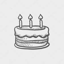 Cake With Candles Sketch Icon Stock Vector Birthday cake sketch