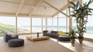 luxuriöse villa am meer mit geräumigem wohnzimmer mit blick auf den ozean durch große rundumsichtfenster mit komfortabler lounge suite und großer