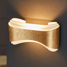 edle designer wandleuchte ionica goldband