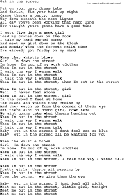 Bruce Springsteen song Out In The Street lyrics