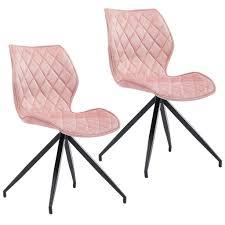 duhome 2er set esszimmerstuhl polsterstuhl aus stoff samt hell rosa gesteppt metallbeine