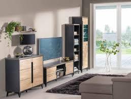edle designer wohnwand grau beige wohnwände vitrine kommode wohnzimmer set 4tlg
