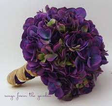 Wedding Bouquet Purple Silk Hydrangea Flower Bridal Rustic Jute Twine Ribbon