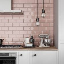 Tiles For Kitchens Ideas Metro Subway Blush Pink Bevelled Gloss Wall Tile 100mm X