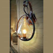 antique seedy glass hanging wrought iron wall light sconces