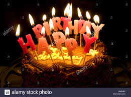 Lighted candles saying Happy Birthday on a chocolate cake