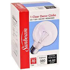 bulk sunbeam medium base clear decor globe light bulbs 40 watt at