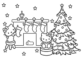 Hello Kitty Christmas Coloring Pages For Kids Printable Free Sheets
