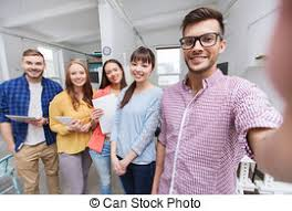 equipe bureau bureau business prendre créatif équipe selfie concept