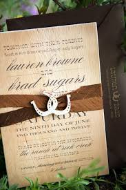 Western Wedding Invitations Rectangle Cream Vintage Beautiful Wording With Ribbon And Horseshoe Ornament Invitation Romantic Summer At