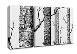 Modern 3 Panel Black And White Tree Trunks Canvas Art