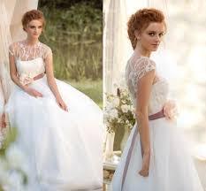 Wedding Dresses Ideas Floral Belt Scoop Neack Cap Sleeves Ball Rustic Get