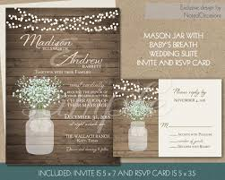 Rustic Wedding Invitation Printable Mason Jar And Babys Breath Invites