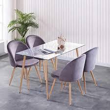 goldfan esstisch mit 4er sessel glastisch und 4 samt grau stuhl wohnzimmertisch und lounge sessel