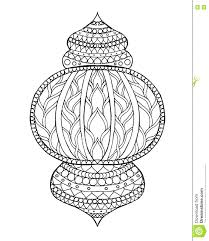Printable Ramadan Coloring Pages Hand Drawn Traditional Lantern Engraved Vector Illustration Sketch Page Decoration Greeting Card