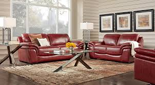 Cindy Crawford Home Grand Palazzo Red Leather 3 Pc Living Room