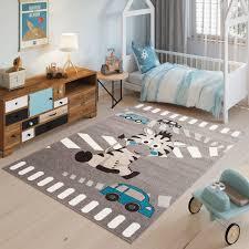 kinderteppich teppich grau taupe blau zebra tiere autos
