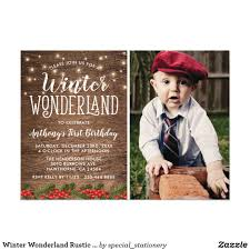 Winter Wonderland Rustic Photo Birthday Party Card Country 1st Invitations Featuring A