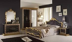 schlafzimmer black schwarz gold schrank 4 türig mit