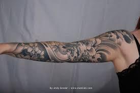 Japanese Grey Flowers Sleeve Tattoos Photo 3