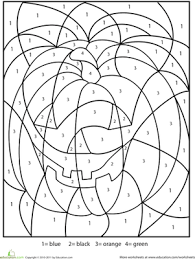 Halloween Multiplication Worksheets Grade 5 by Halloween Color By Number Worksheet Education Com