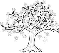 pictures of trees to color Autumn Tree With Falling Leaves Coloring Page