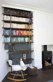 Rustic Shelf Living Room Contemporary With Reclaimed Scaffolding Board Shelving Industrial Wood And Steel Shel Urban
