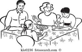 Family Eating Together Clipart Black And White