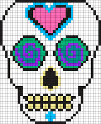 Halloween Perler Bead Patterns by Mexican Muerto Skull Perler Bead Pattern Bead Sprite Graphed
