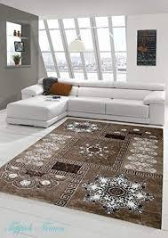 moderner teppich designer teppich orientteppich mit glitzergarn wohnzimmer teppich mit kronleuchter optik in braun beige creme größe 80x150 cm