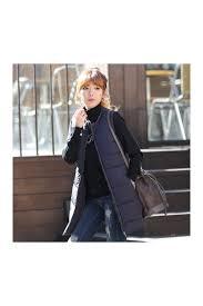womens navy blue padded puffer sleeveless long vests waistcoats coats
