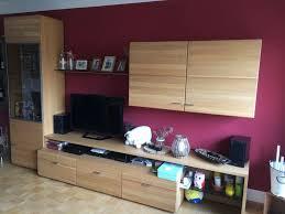 eiche wohnwand wohnzimmer schrankwand regal tv board möbel massiv