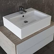 vilstein keramik waschbecken aufsatz waschbecken hängewaschbecken waschtisch rechteckig eckig 59 cm
