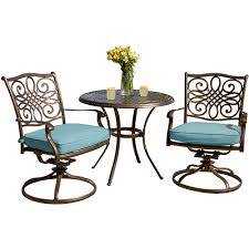 Hanover Traditions 3-Piece Outdoor Bistro Set With Round Cast-Top Table And  Swivel Chairs With Blue Cushions Outdoor Fniture Alpharetta Wicker Wrought Iron Table With 36 Round Top And Chair Bistro Black Event Rentals In Home Shop 100 Styles For Every Room Crate Barrel Patio Design Specialist American Casual Living Vintage Mid Century Modern Rattan Hoop The Ritzcarlton Atlanta Ga Jsetter Console Made From Parisian 1880s Wughtiron Balcony Custom Stone Four Hands Powell 55 Ding Used Garden Chairish Kiersten