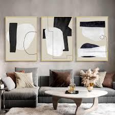 abstrakte vintage beige schwarz geometrische leinwand poster gemälde wand kunst drucken bild für wohnzimmer innen hause dekoration