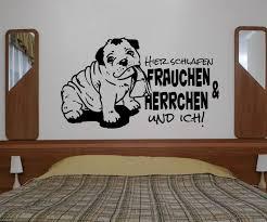 wandtattoo bulldogge spruch hier schlafen frauchen ich bulldog bully tür aufkleber schlafzimmer 1b077 wandtattoos und leinwandbilder
