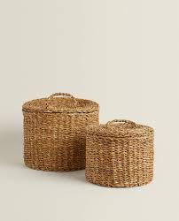 runder seegraskorb mit deckel