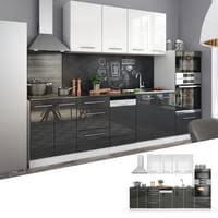 vicco küche fame line küchenzeile einbauküche 295cm weiß anthrazit hochglanz