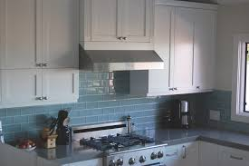 appealing blue glass backsplash for kitchen with glossy surface