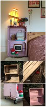 DIY Crate Side Table A Practical Nightstand Made With Pair Of Old Wooden Crates