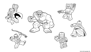 Team Lego Marvel Hulk Ironman Spiderman Thor America Wolverine Coloring Pages Print Download 249 Prints