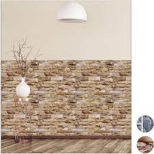 wandpaneele selbstklebend im 5er set dekorative steinoptik 3d paneele pvc steinwand hxb 50 x 50 cm braun
