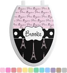 Eiffel Tower Bathroom Decor by Paris Bonjour And Eiffel Tower Toilet Seat Decal Personalized