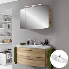 lomadox badmöbel set cervia 66 spar set badezimmermöbel in riviera eiche mit 80cm waschtisch led spiegelschrank b h t 101 200 50 5 cm