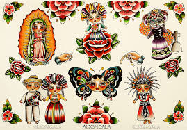 Mexican Dolls Flash ByAlejandra L Manriquez ALXBNGALA Tags Tattoo Dayofthedead Mexico