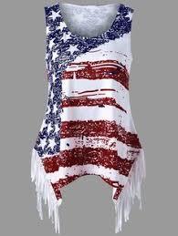 Fringe American Flag Print Tank Top