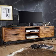 wohnling lowboard nishan 160x54x40 cm sheesham massiv holz design hifi board mit stauraum und schubladen massivholz fernsehschrank wohnzimmer