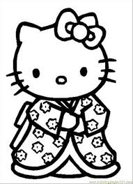 Sleepy Hello Kitty Free Coloring Page O Kids