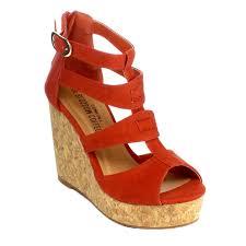 blossom women ankle strap strappy zip platform wedge heel slide